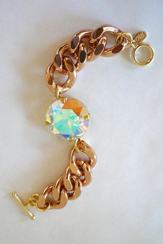 Rose Gold Chunky Chain & Aurora Borealis Rhinestone Bracelet