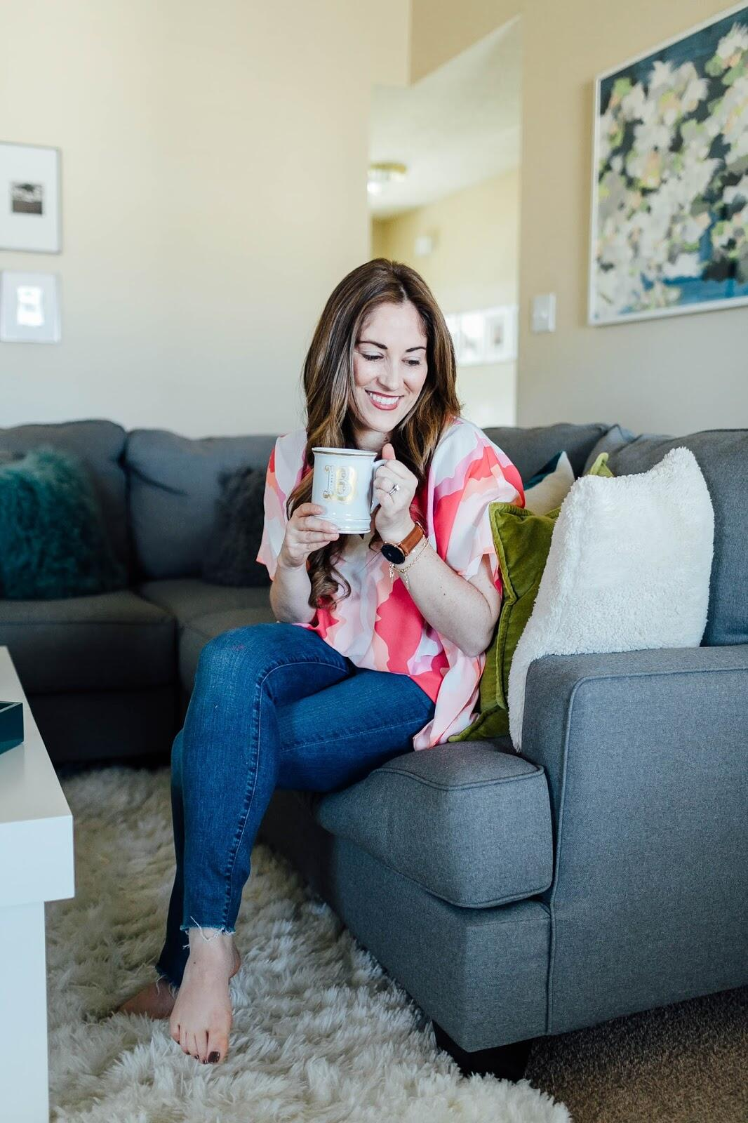 Ways to make time for yourself: lounge with a hot drink.