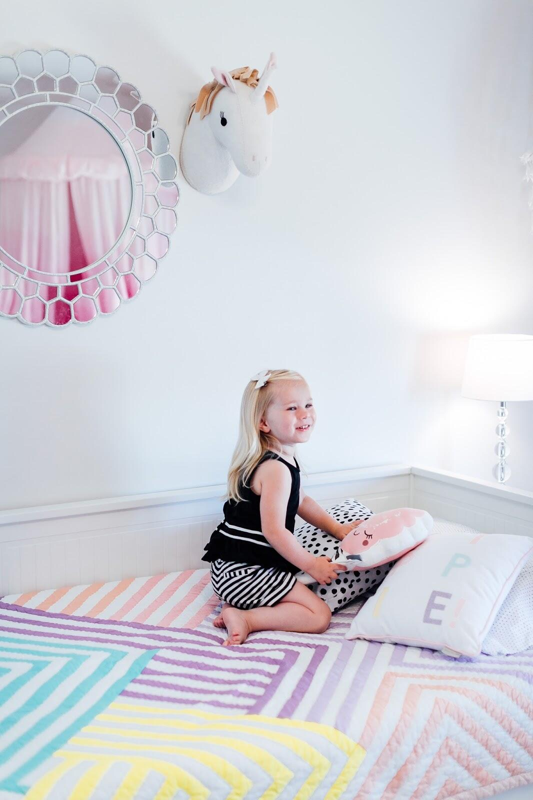Toddler Room Ideas - Leighton's Big Girl Bed & Room Reveal by popular blogger Laura of Walking in Memphis in High Heels