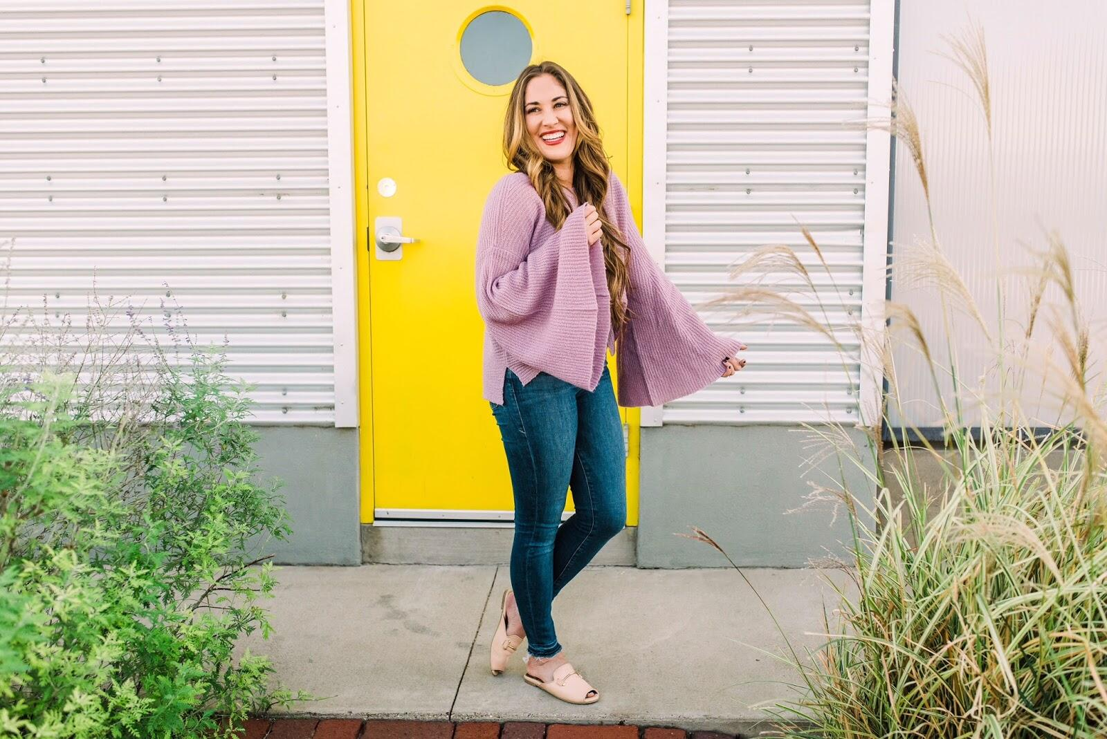 My Favorite Bell Sleeve Sweater under $40 by East Memphis fashion blogger Walking in Memphis in High Heels