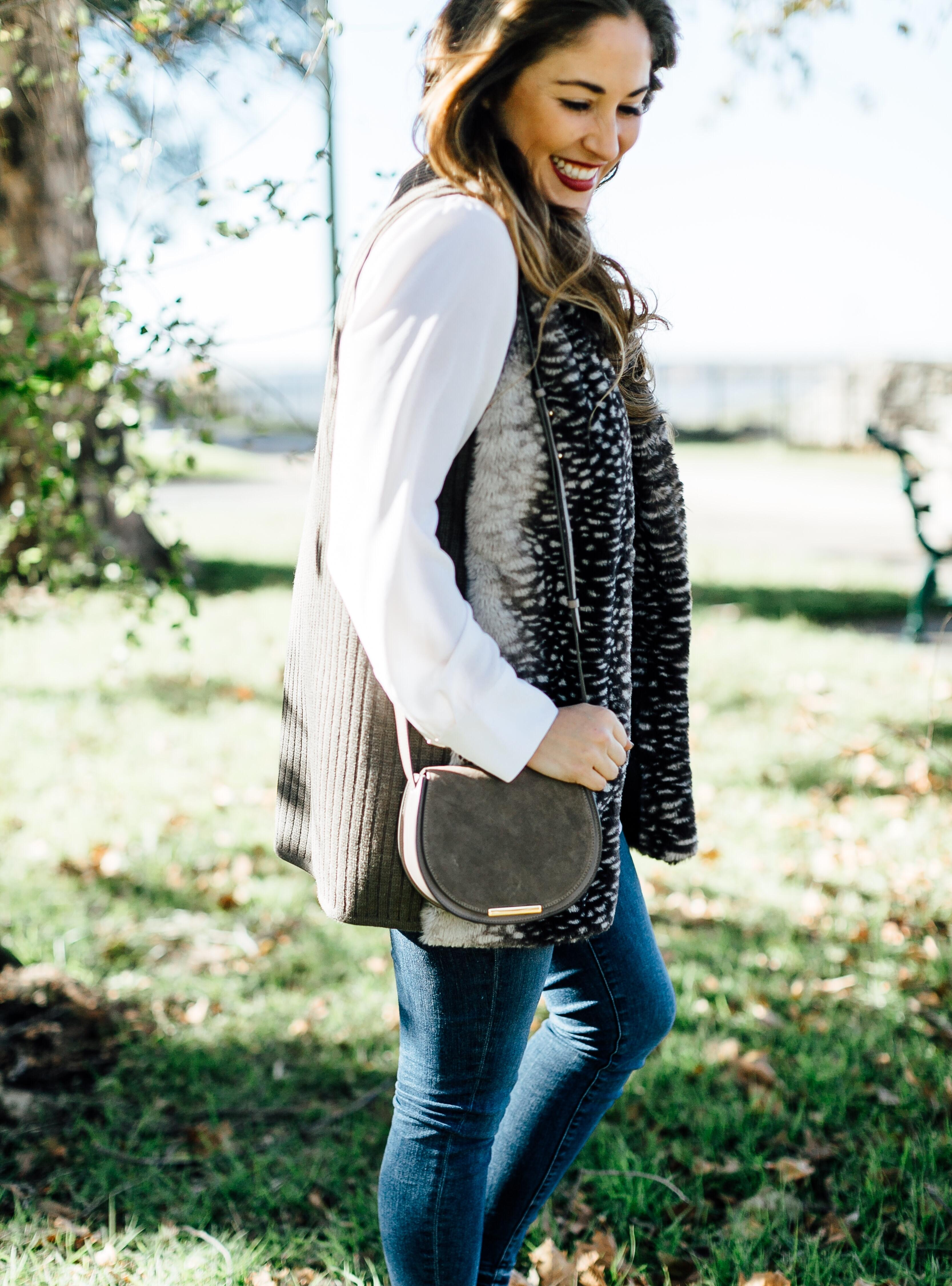 The Perfect Black Faux Fur Vest by East Memphis fashion blogger Walking in Memphis in High Heels