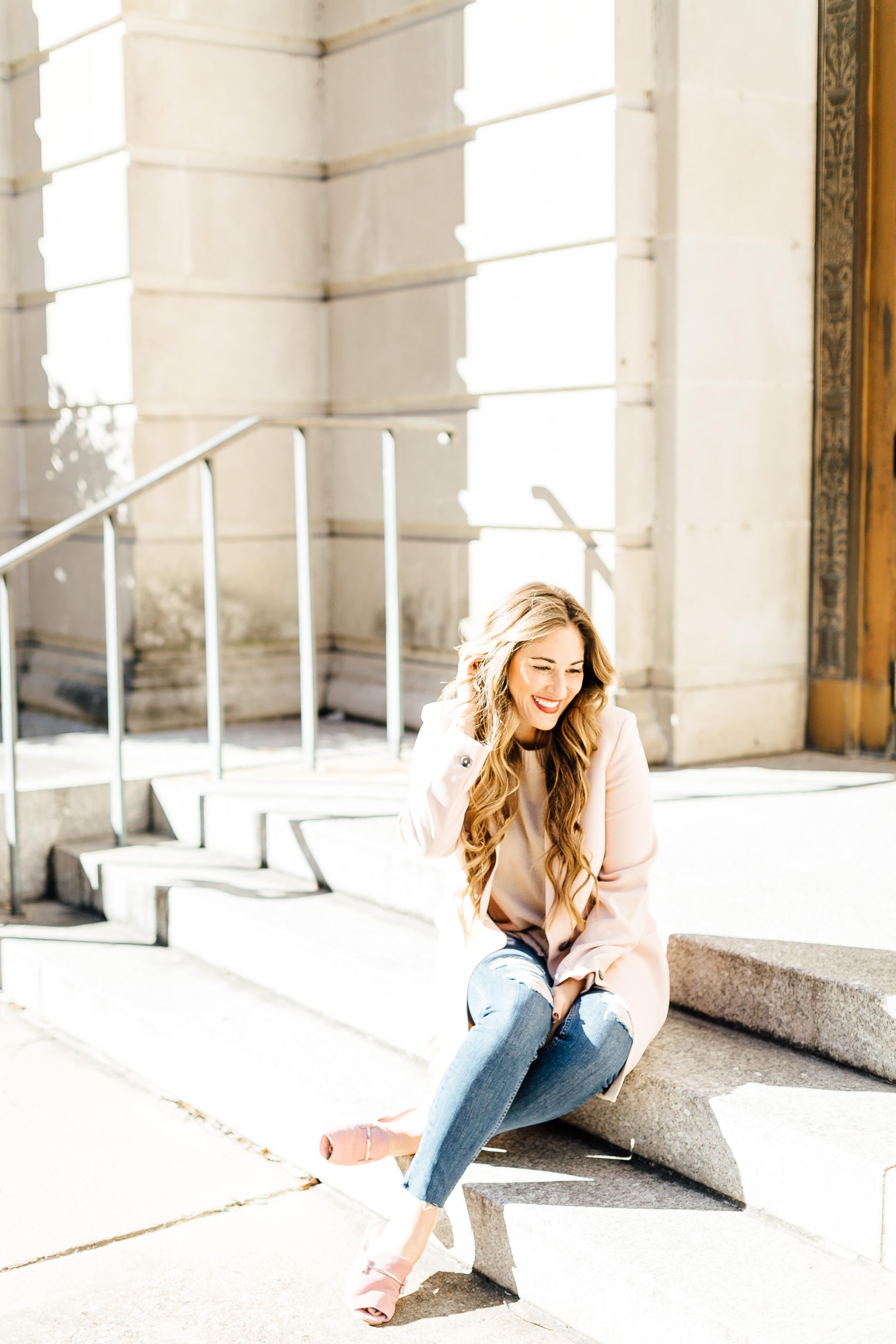 Trend Spin Linkup: Pink Ruffle Coat from Banana Republic by East Memphis fashion blogger Walking in Memphis in High Heels