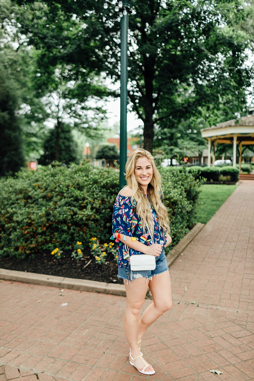 Shopbop Denim Cutoff Shorts styled by popular fashion blogger, Walking in Memphis in High Heels
