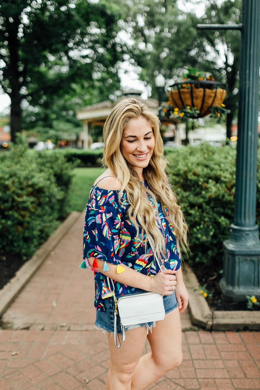 Shopbop Denim Cutoff Shorts styled by popular fashion blogger, Walking in Memphis in High Heels