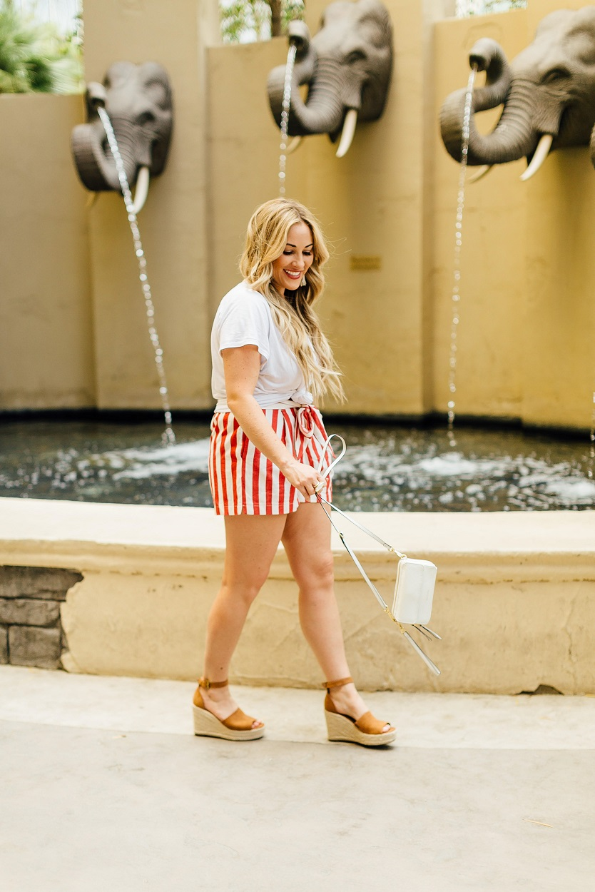 Red white and blue outfit featured by popular fashion blogger, Walking in Memphis in High Heels