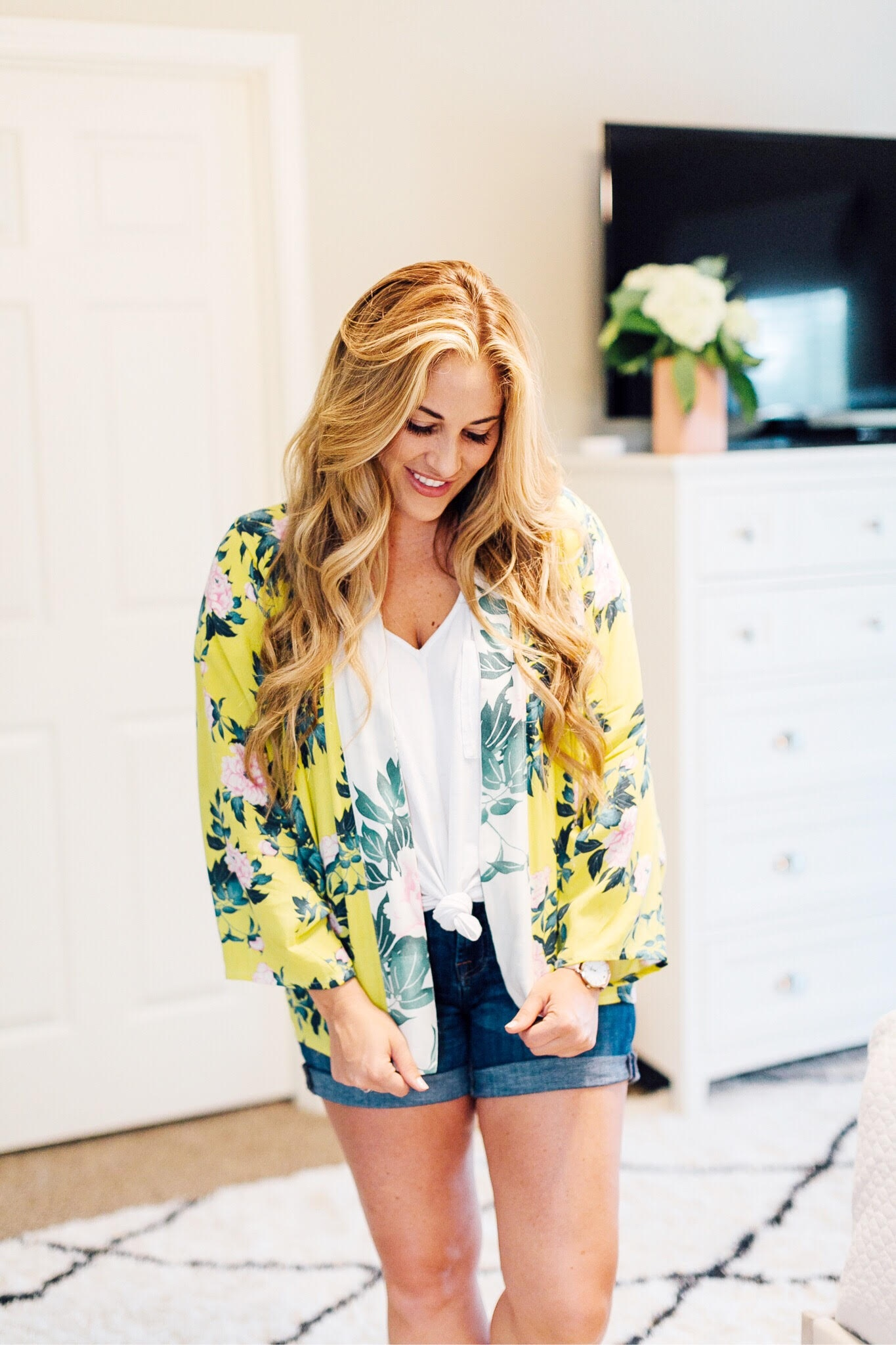 83746f027 Cute Anthropologie floral kimono featured by popular style blogger, Walking  in Memphis in High Heels