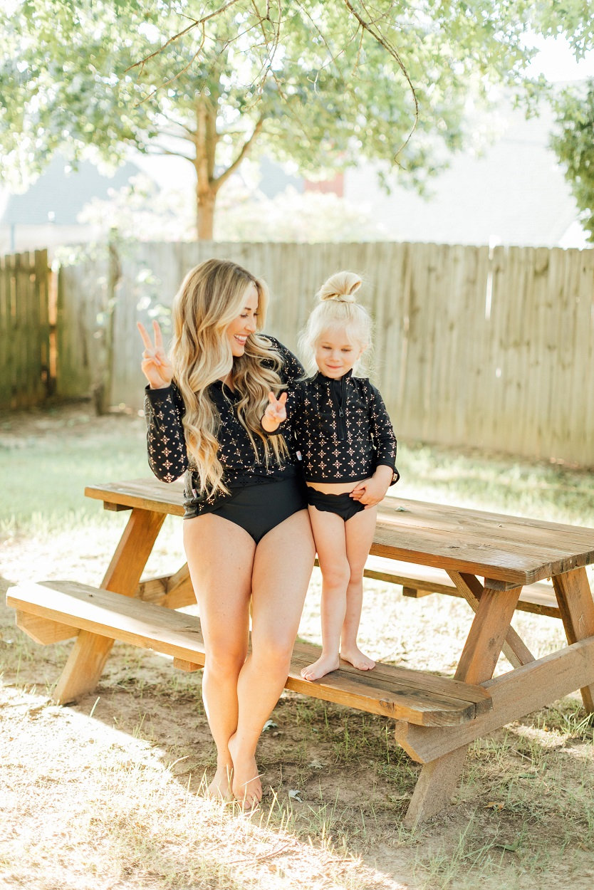 Mommy and me Swim Zip swimsuits featured by popular fashion blogger, Walking in Memphis in High Heels
