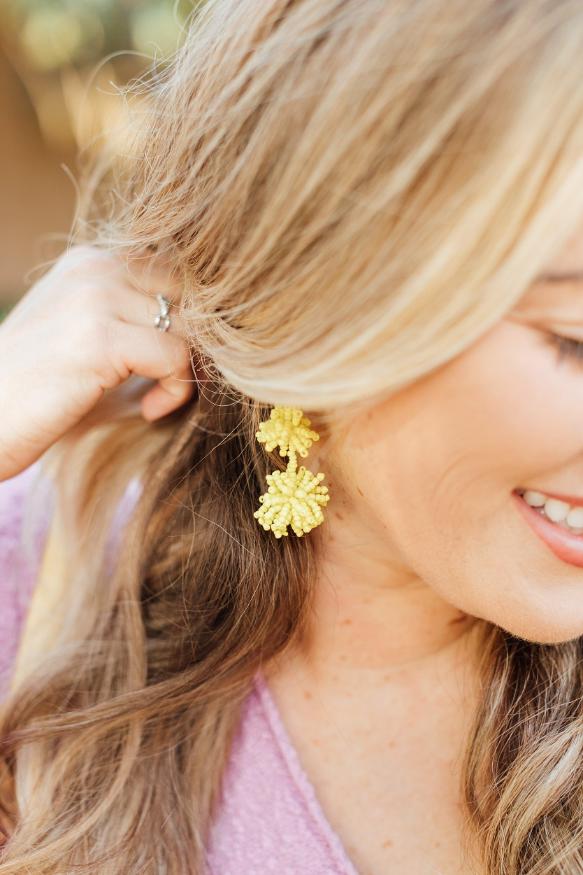 summer earrings styled by popular fashion blogger, Walking in Memphis in High Heels