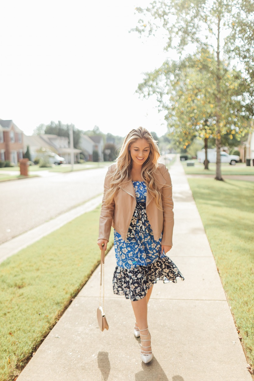 Eliza J blue floral dress featured by popular fashion blogger, Walking in Memphis in High Heels