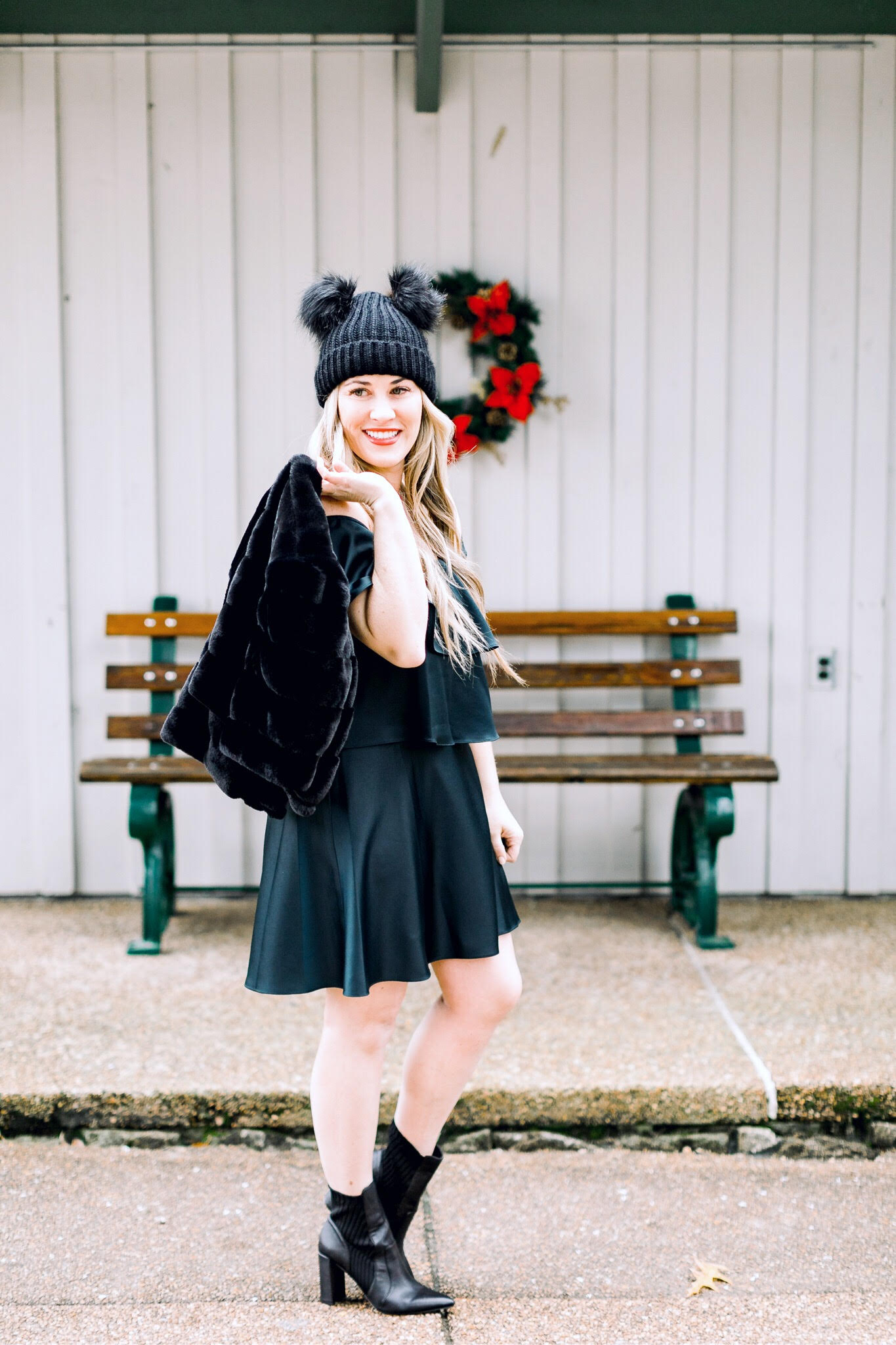 Christmas style featured by top fashion blog, Walking in Memphis in High Heels: image of a woman wearing an Eliza J dress, Sole Society sock booties and an ASOS Pom pom beanie