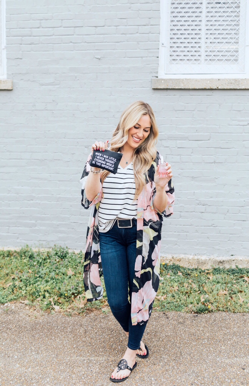Fresh Faced Spring Makeup routine featured by top US beauty blog, Walking in Memphis in High Heels: image of a woman wearing a Sole Society floral kimono, Target striped t shirt, KUT skinny jeans, Tory Burch sandals and a quote pouch