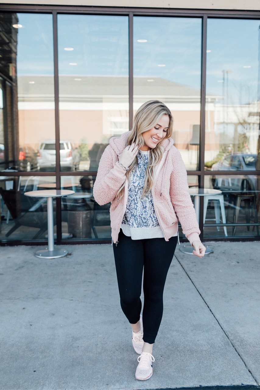 Core Challenge featured by top fitness blog, Walking in Memphis in High Heels: image of a woman wearing a Marc New York Performance fleece jacket, Snake Skin cotton sweatshirt, scalloped leggings and Nike Flyknit sneakers
