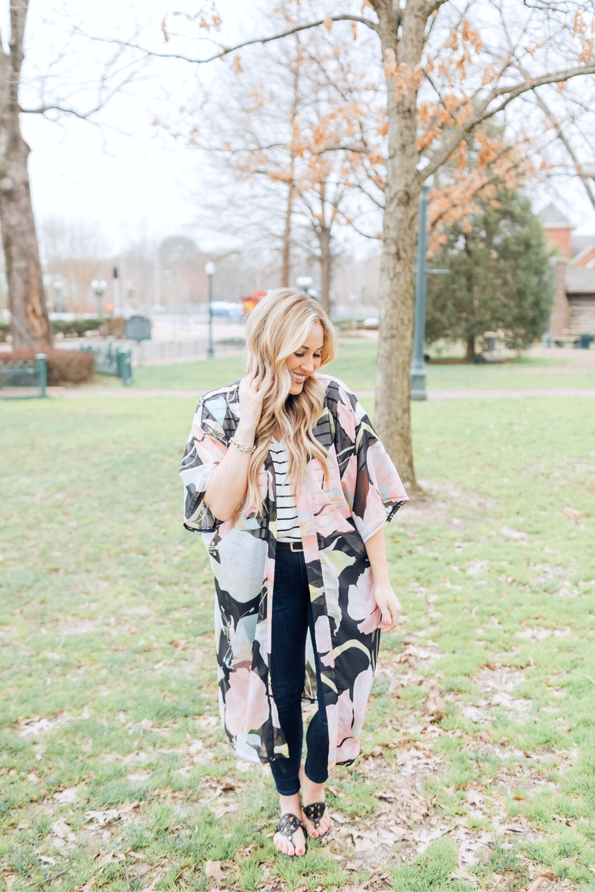 Floral kimono for Spring styled by top US fashion blog, Walking in Memphis in High Heels: image of a woman wearing a Sole Society floral kimono, Target striped shirt, KUT from the Kloth skinny jeans, and Tory Burch leather sandals