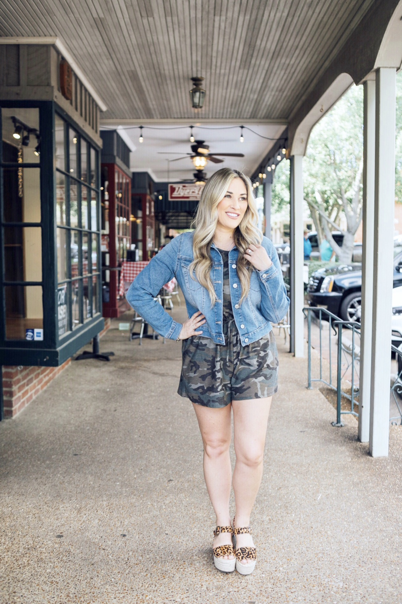 Summer style featured by top US fashion blog, Walking in Memphis in High Heels: image of a woman wearing a Pink Lily Boutique camp romper, Marc Fisher platform sandals, and Sofia Jeans by Sofia Vergara denim jacket