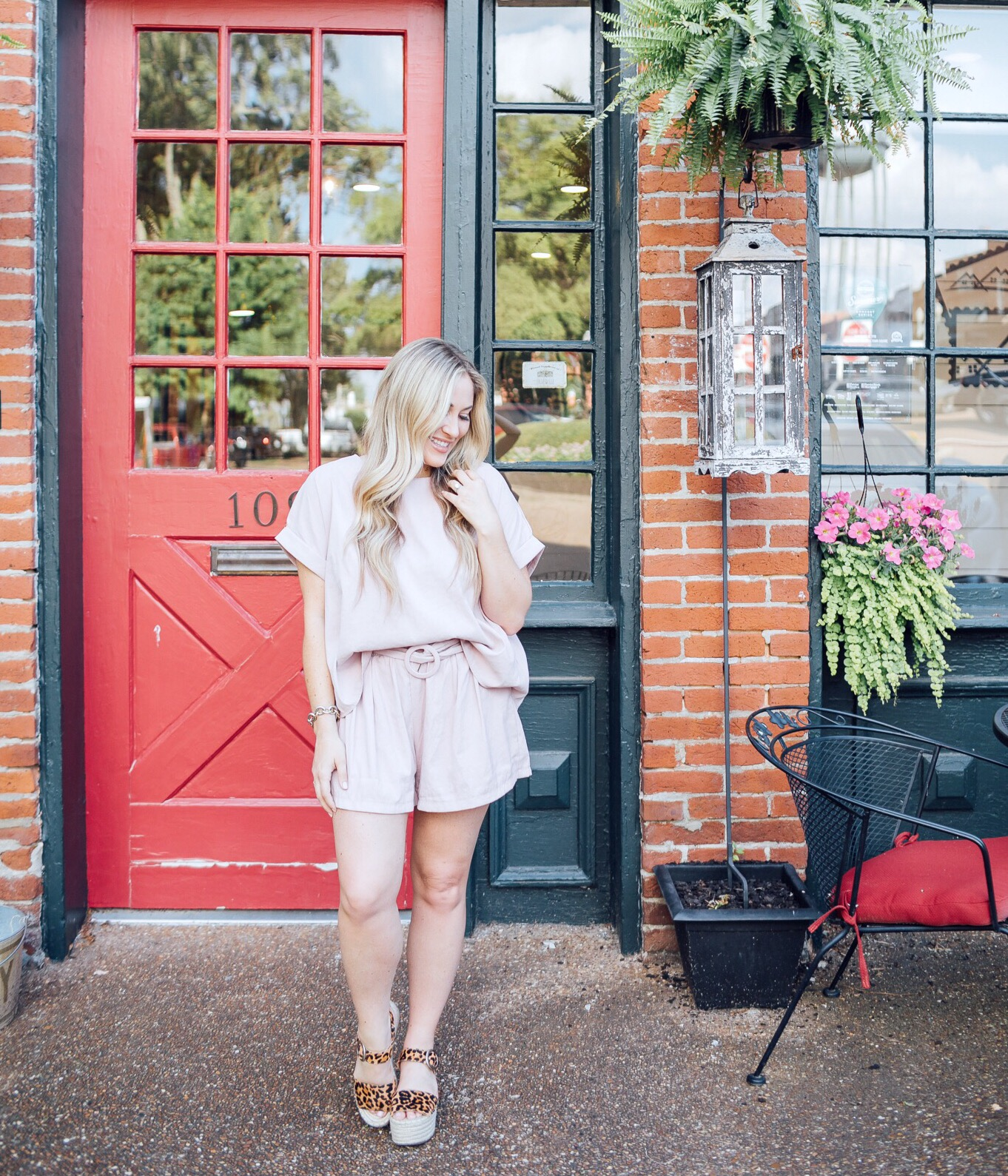 Lavender two piece set styled for summer by top US fashion blog, Walking in Memphis in High Heels: image of a woman wearing a Black Sheep Boutique lavender 2 piece set, and Marc Fisher leopard platform espadrilles.
