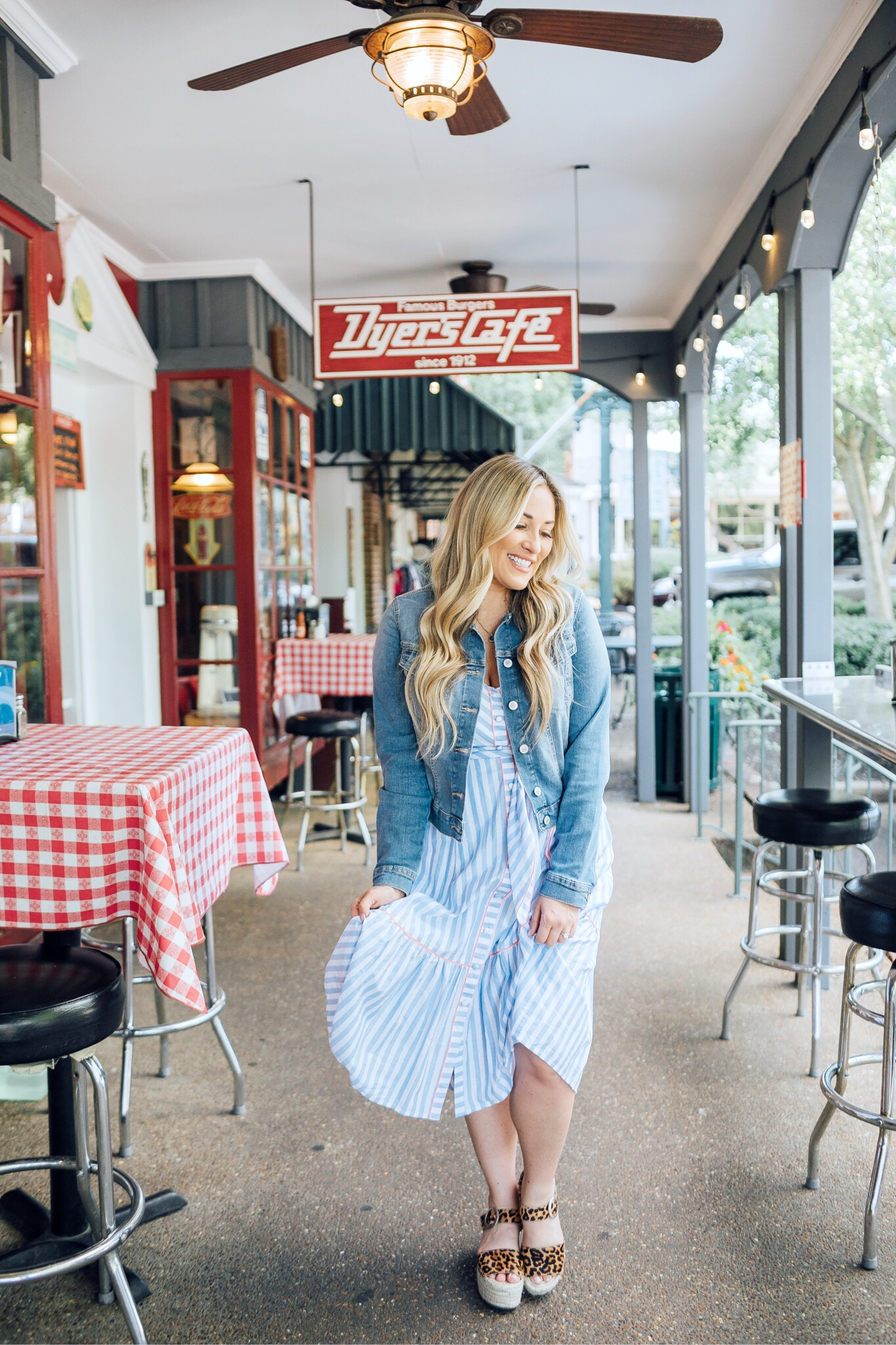 Eliza J Dress styled for summer by top US fashion blog, Walking in Memphis in High Heels: image of a woman wearing an Eliza J striped maxi dress, Sofia Jeans by Sofia Vergara denim jacket and Marc Fisher espadrille sandals.