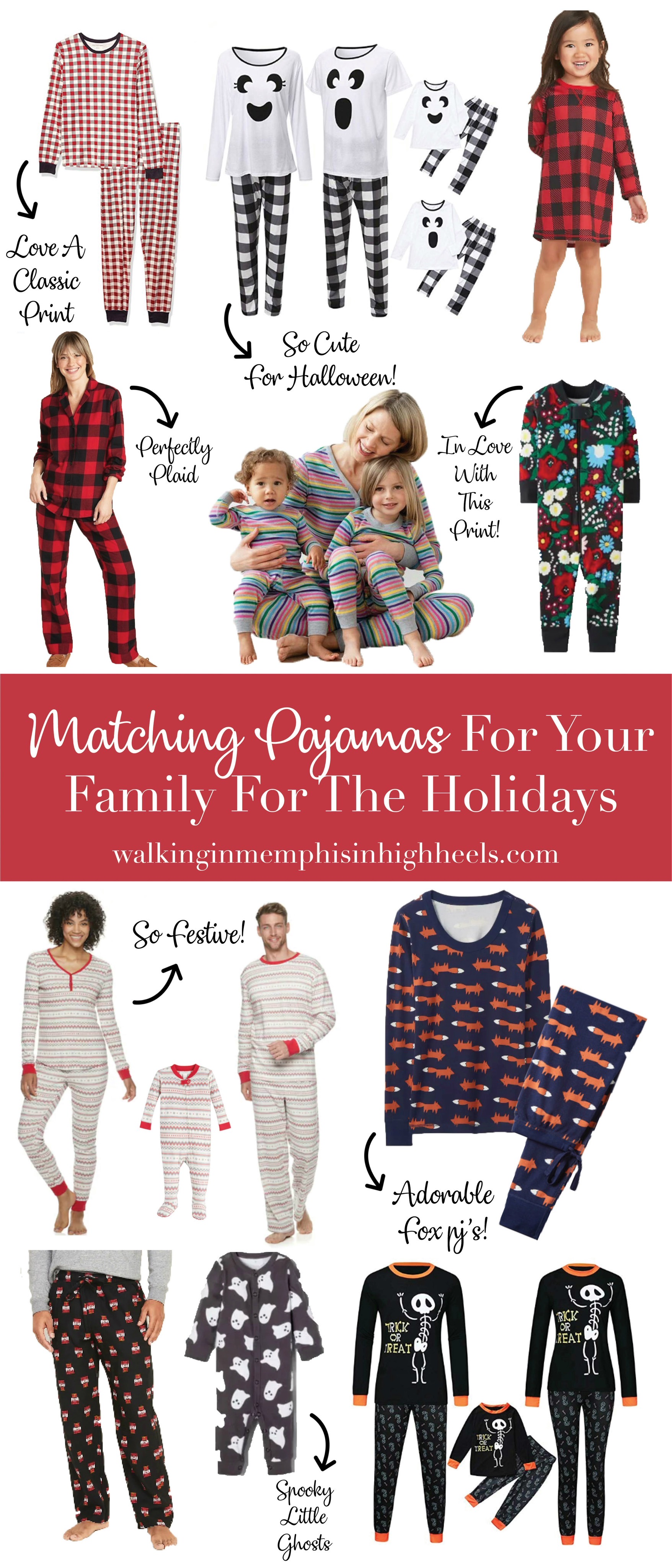 Matching Family Pajamas for the Holidays featured by top US life and style blog, Walking in Memphis in High Heels.