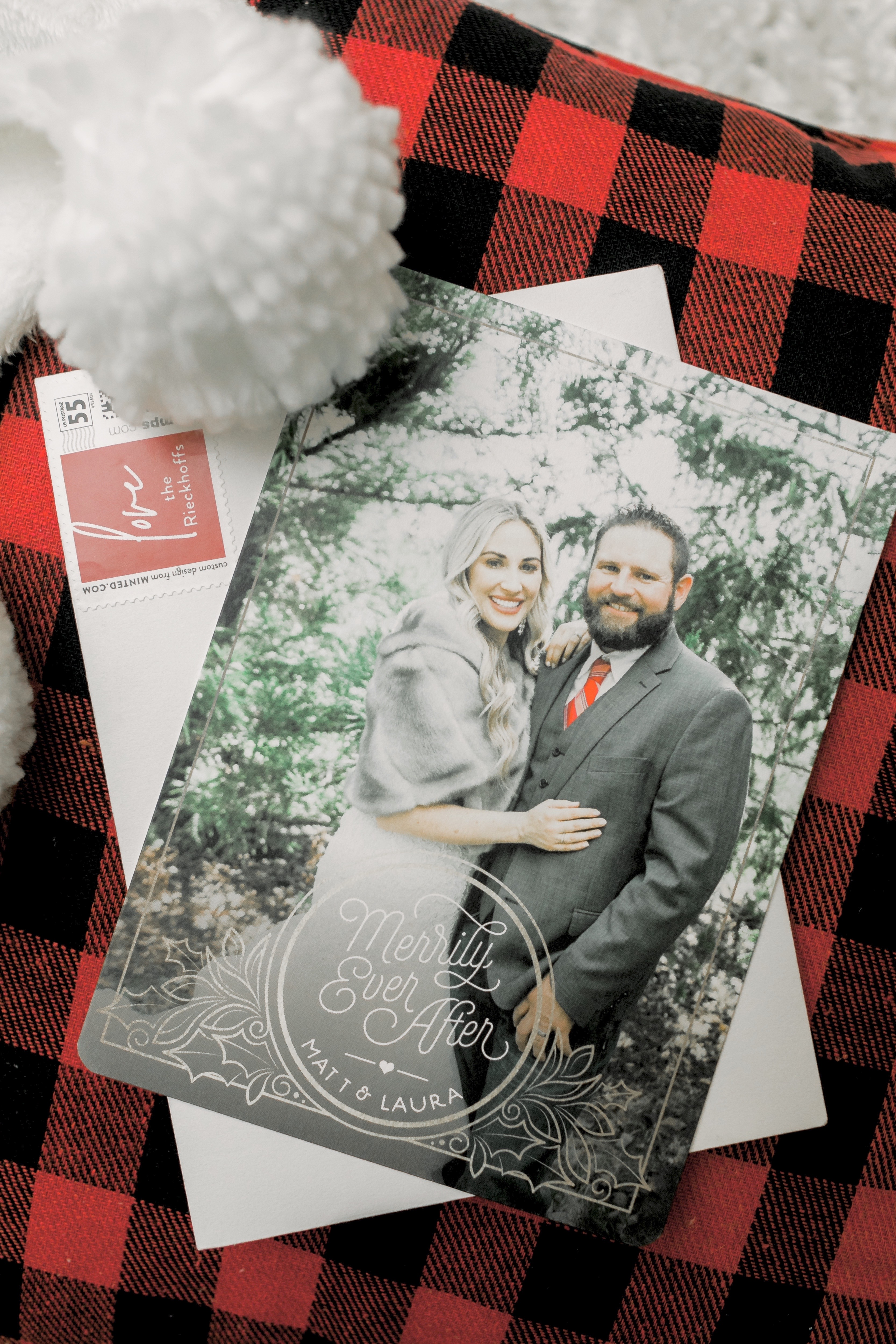Newlywed Christmas Card printed by Minted featured by top US life and style blog, Walking in Memphis in High Heels.
