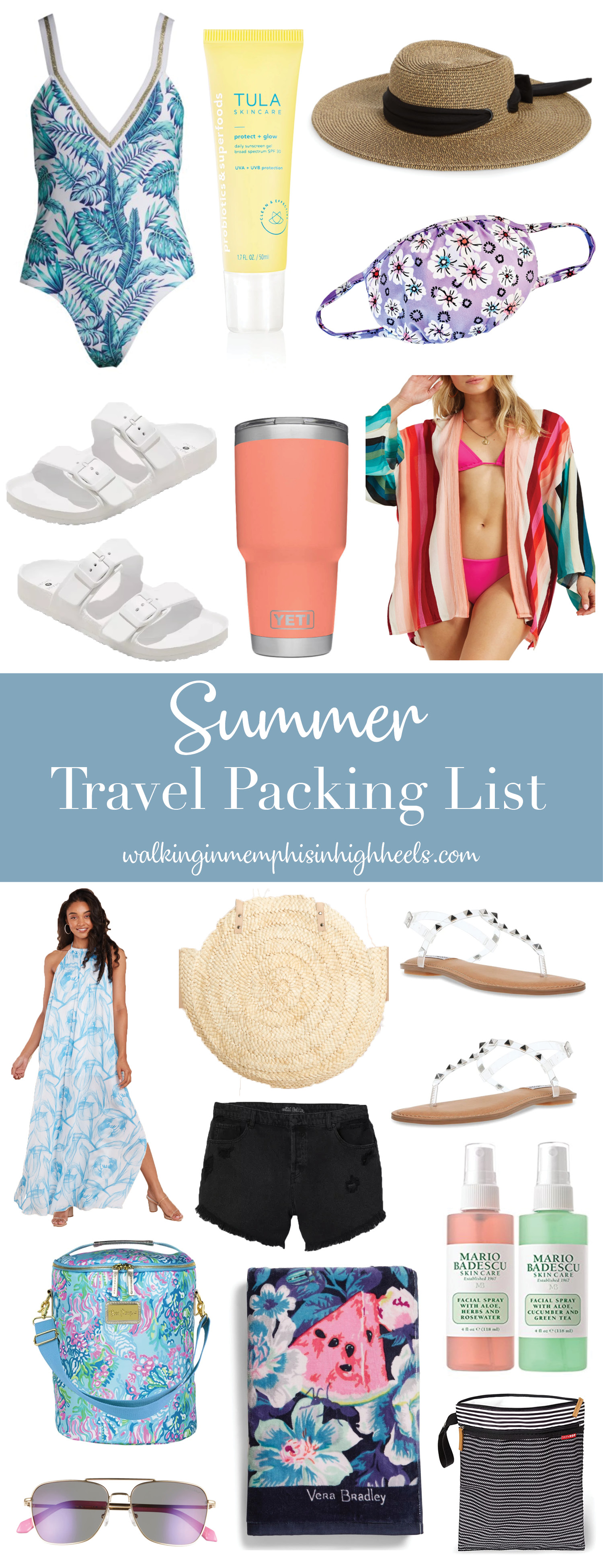 summer travel packing list featured by top Memphis travel blogger, Walking in Memphis in High Heels.