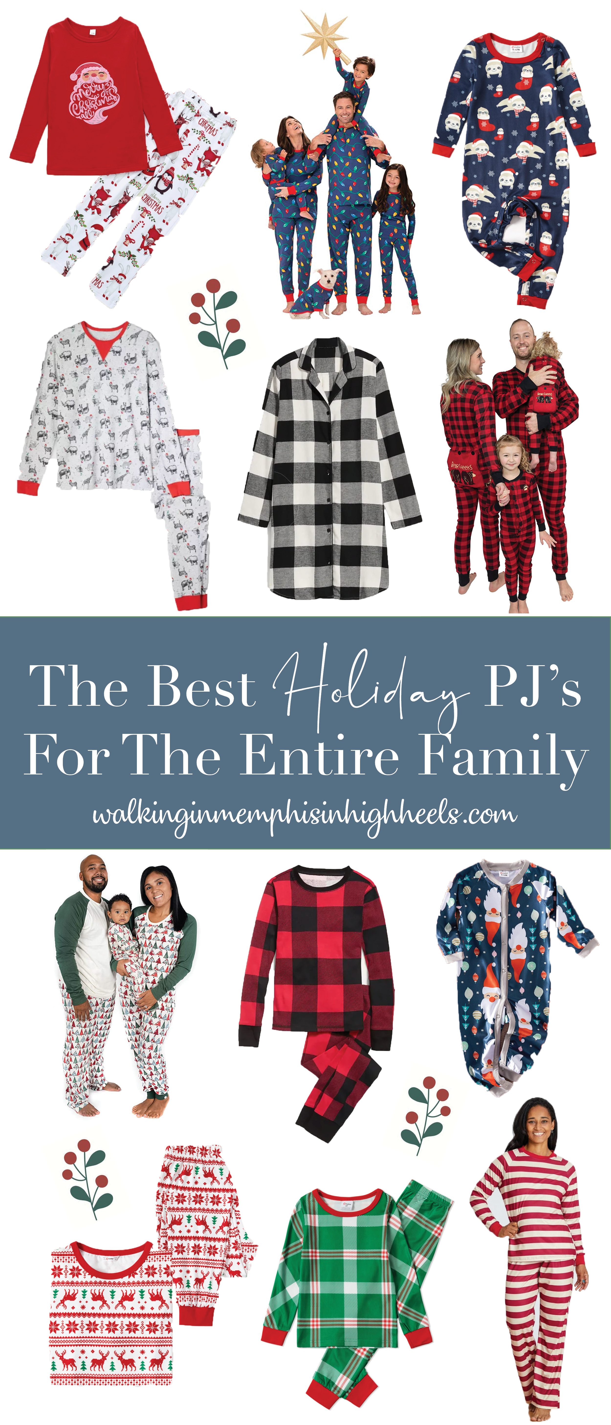 The Best Holiday Pajamas for the Entire Family featured by top Memphis fashion blogger, Walking in Memphis in High Heels.