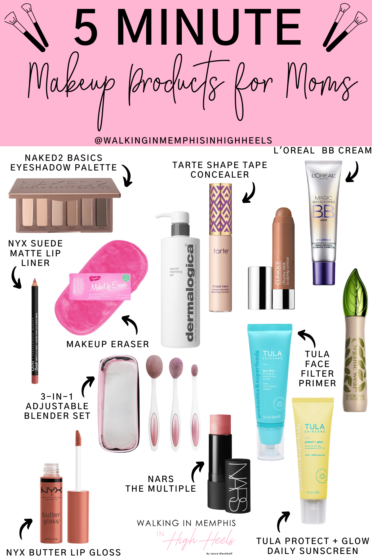 5 Minute Easy Makeup Products for New Moms featured by top Memphis lifestyle blogger, Walking in Memphis in High Heels
