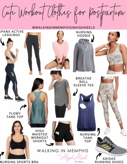 Cute Postpartum Workout Clothes for the 4th Trimester featured by top Memphis fitness blogger, Walking in Memphis in High Heels.