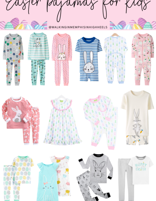 Cute Easter pajamas for kids featured by top Memphis mommy blogger, Walking in Memphis in High Heels.