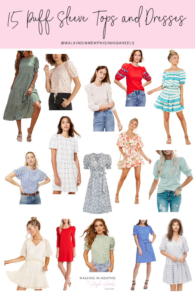 15 Cute Puff Sleeve Tops & Dresses for Women featured by top Memphis fashion blogger, Walking in Memphis in High Heels.
