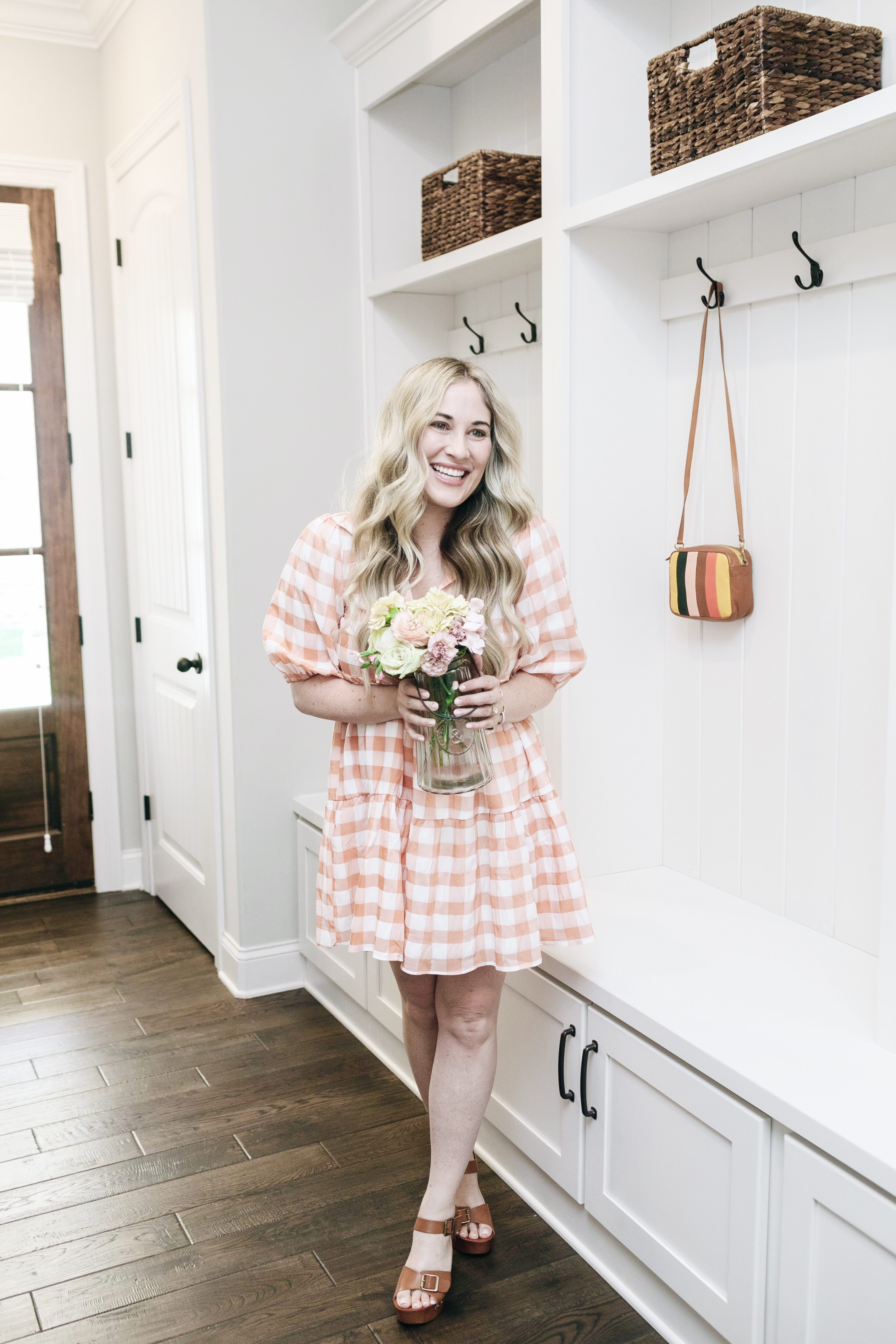 Karlie babydoll gingham dress styled by top Memphis fashion blogger, Walking in Memphis in High Heels.