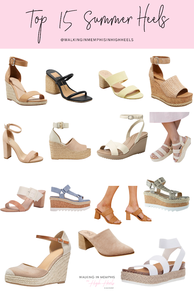 Top 15 Cute Summer Heels for 2021 featured by top Memphis fashion blogger, Walking in Memphis in High Heels.