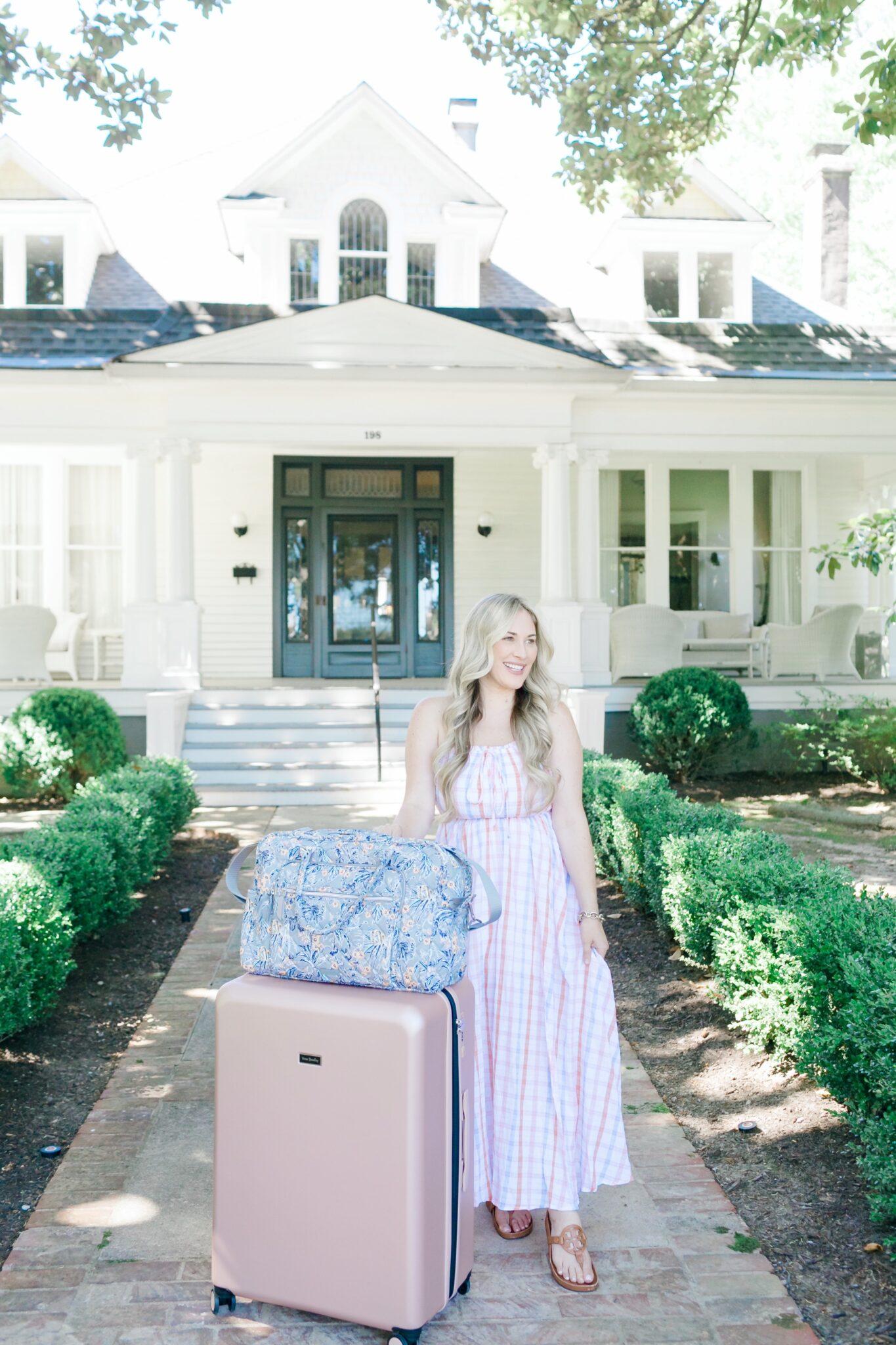 Vera Bradley luggage set reviewed by top US travel blogger, Walking in Memphis in High Heels.