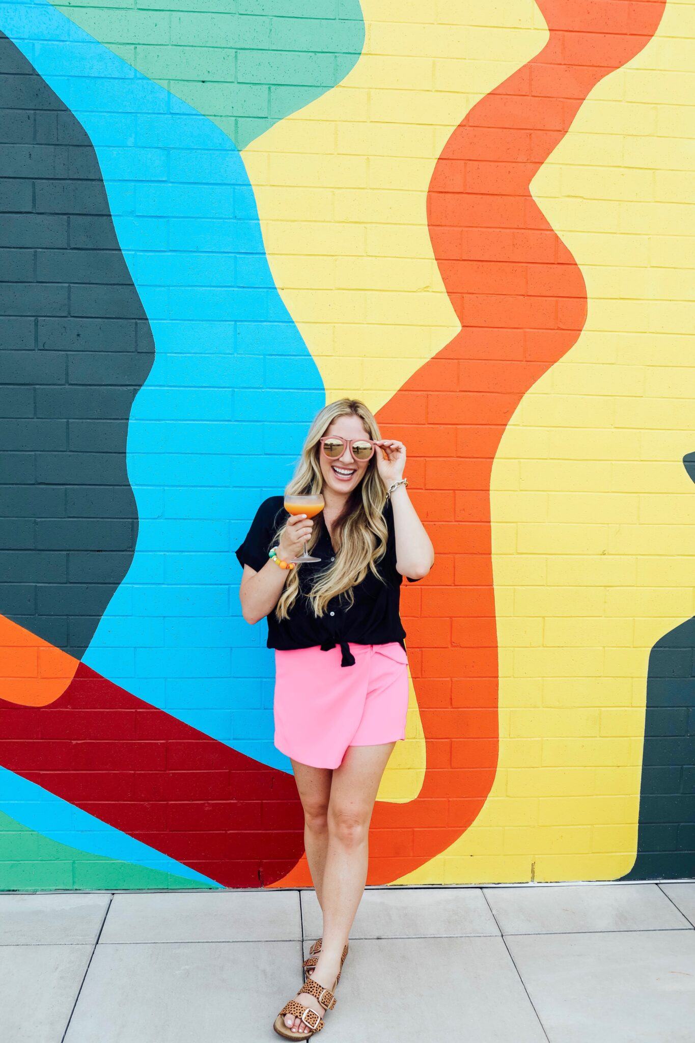 Bright Summer Colors featured by top Memphis fashion blogger, Walking in Memphis in High Heels: image of a woman wearing a hot pink Boston Proper skort.