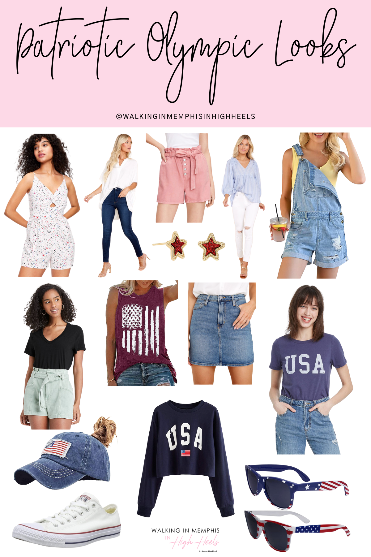 Cute Patriotic Looks for the Olympics featured by top US fashion blogger, Walking in Memphis in High Heels.