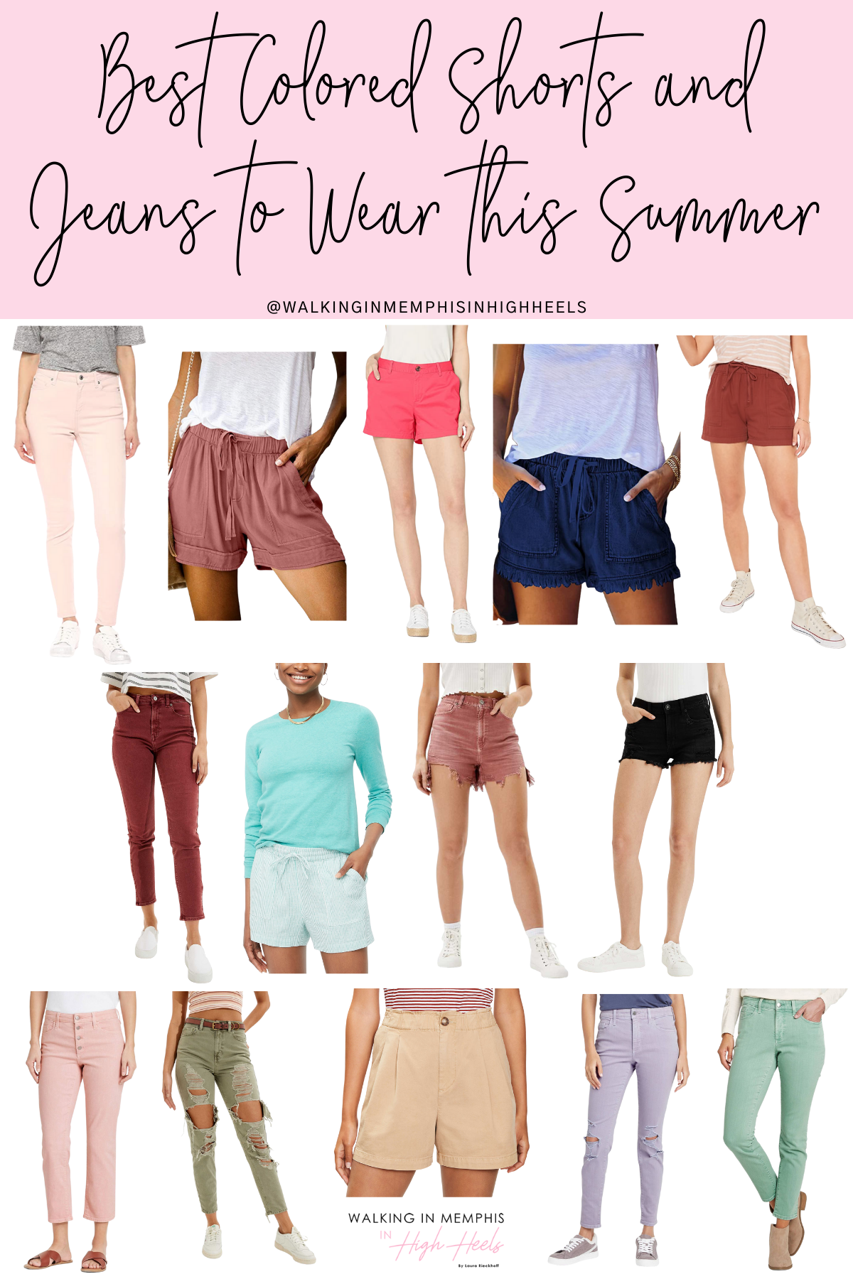 Best Summer Colored Shorts & Jeans for Moms featured by top US mom fashion blogger, Walking in Memphis in High Heels.