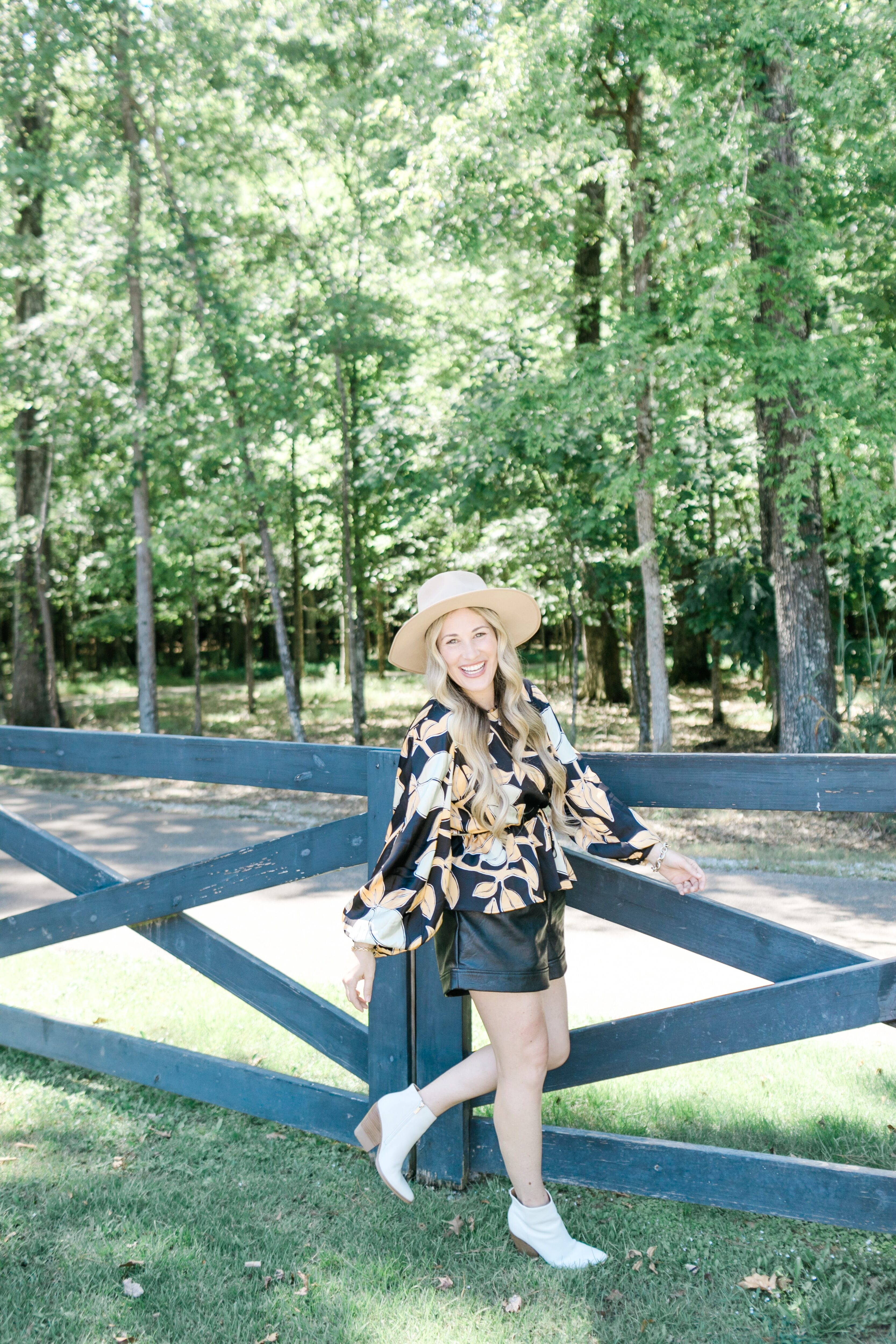 BlankNYC faux leather shorts styled by top US mom fashion blogger, Walking in Memphis in High Heels.