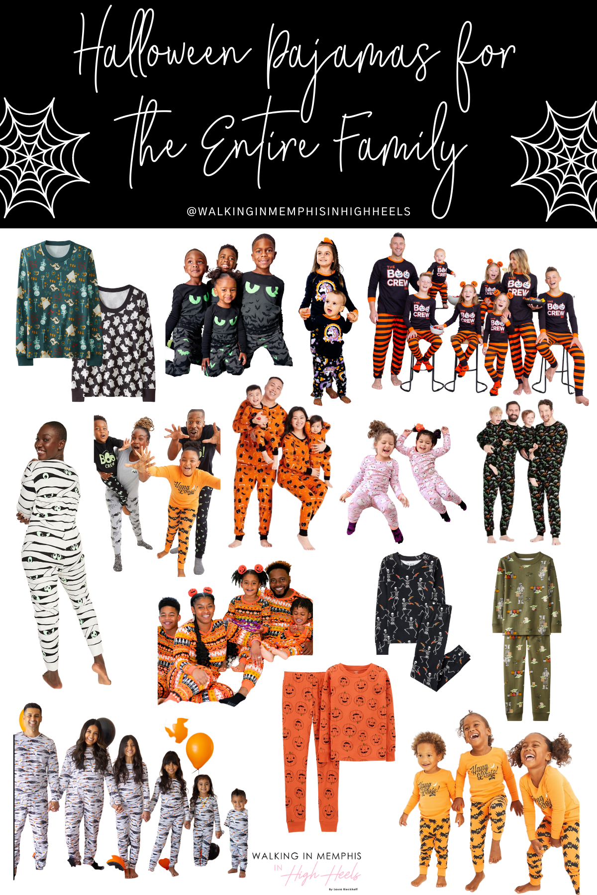 Spooky Halloween Pajamas for your Entire Family featured by top US mommy blogger, Walking in Memphis in High Heels.